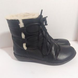 UGG black leather lace up ankle boots